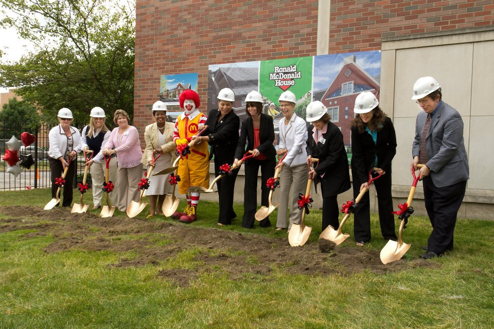 Ronald McDonald and others break ground for a new RM house in Cleveland.
